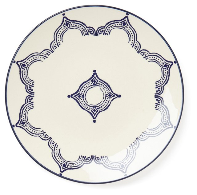 S/4 Medallion Dinner Plates, Blue