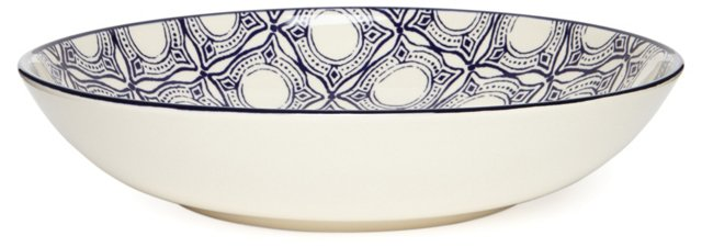 Medallion Serving Bowl, Blue