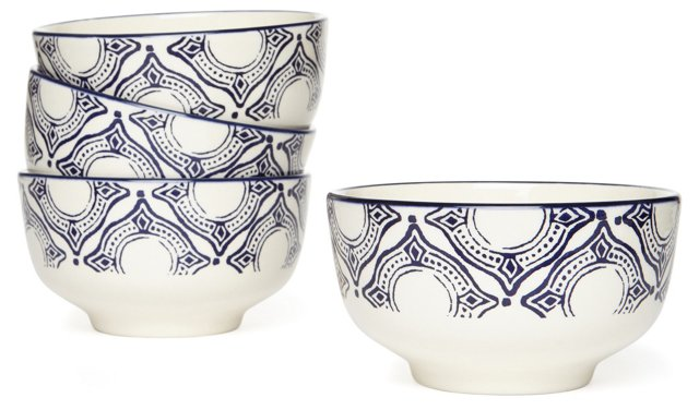 S/4 Medallion Cereal Bowls, Blue