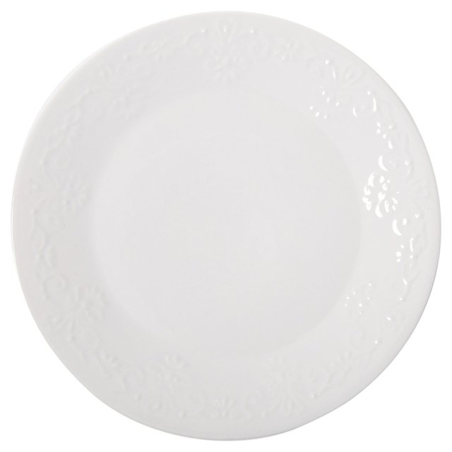 S/4 Laurel Dinner Plates, White