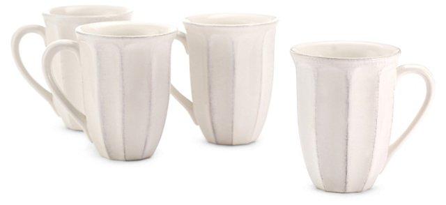 S/4 Medallion Mugs, White