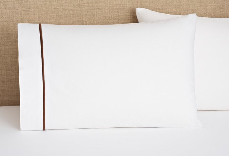 S/2 Hotel Std Pillowcases, Wh/Chocolate