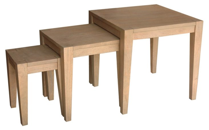 Natural Delmont Nesting Tables, Set of 3