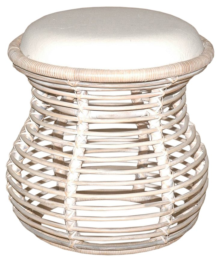 Orinda Rattan Stool, Whitewash