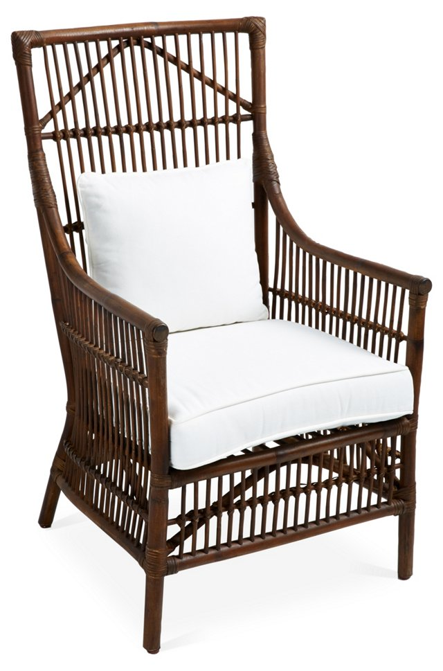Leo Rattan Armchair, Natural/White