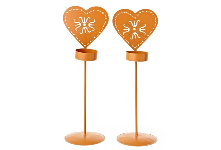 S/2 Gingerbread Heart Votive Holders