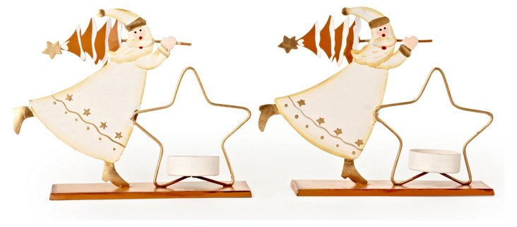S/2 Santa & Star Votive Holders, Medium