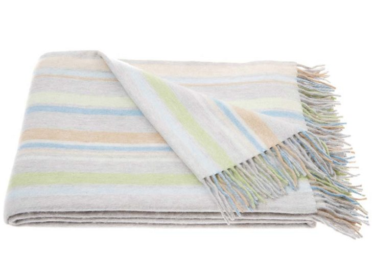 Jura Strai Lambswool/Angora Throw, Pastel