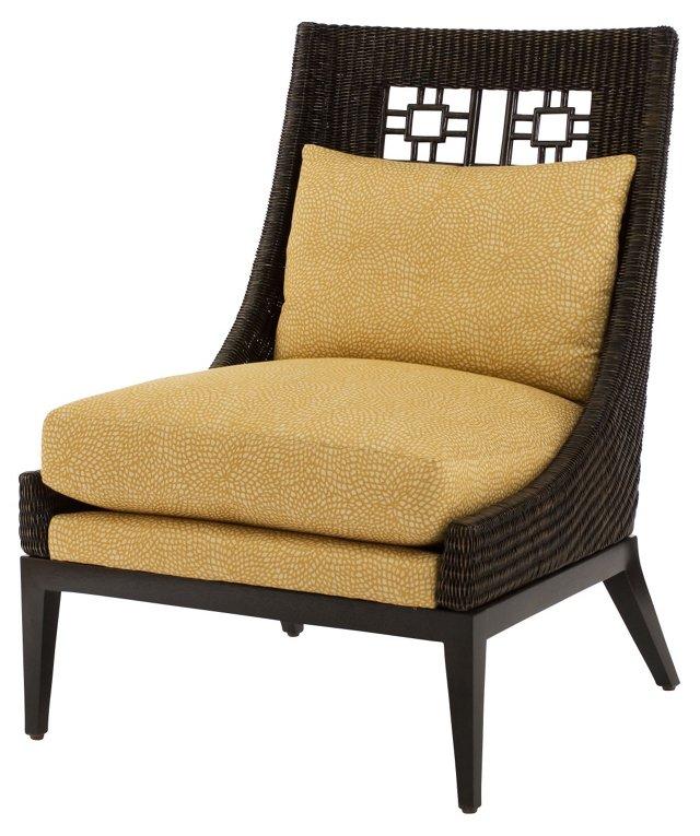 Plantation Rattan Armless Chair, Tan