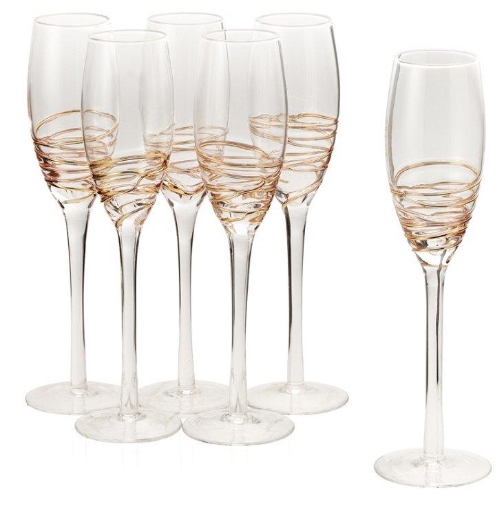 S/6 Encore Champagne Flutes, Gold