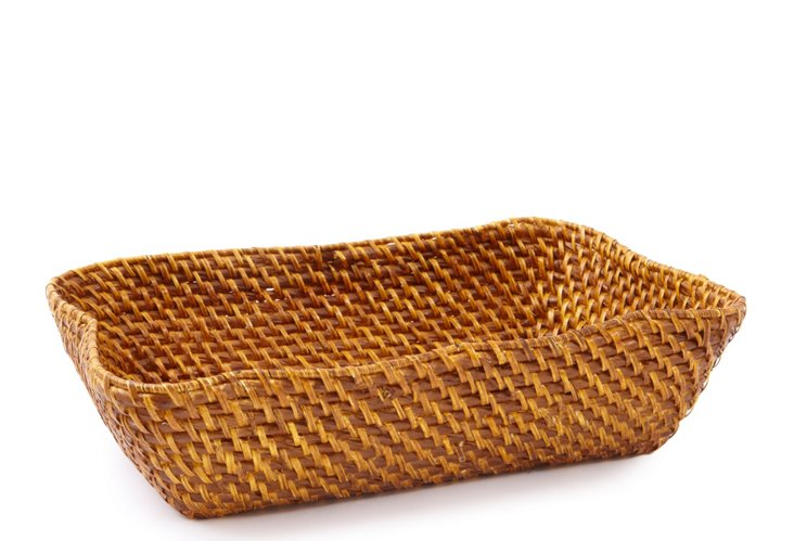 Woven Rattan Rectangle Basket