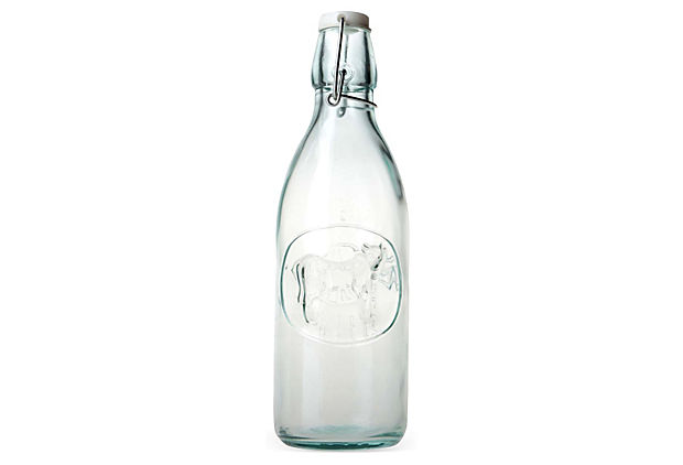 S/2 Recycled-Glass Milk Bottles