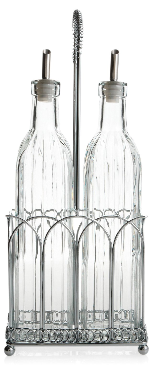 3-Pc Classic Cruet Set w/ Caddy