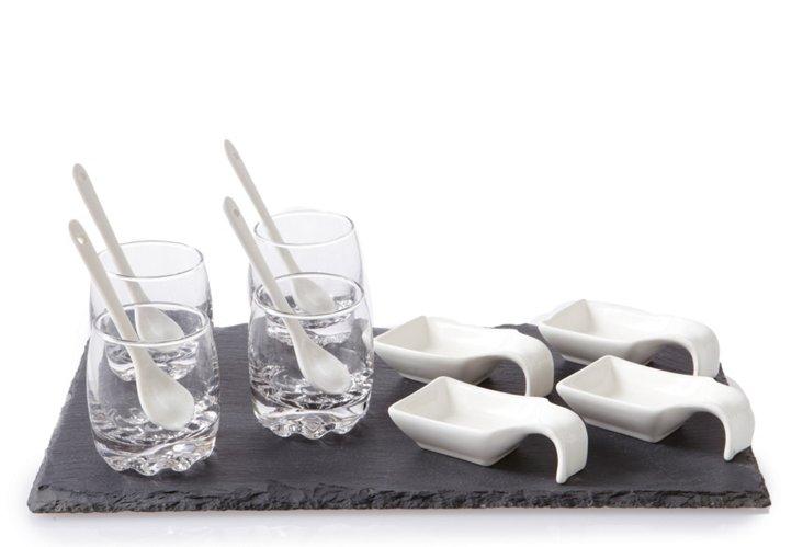 13-Pc Slate & Glass Tasting Set