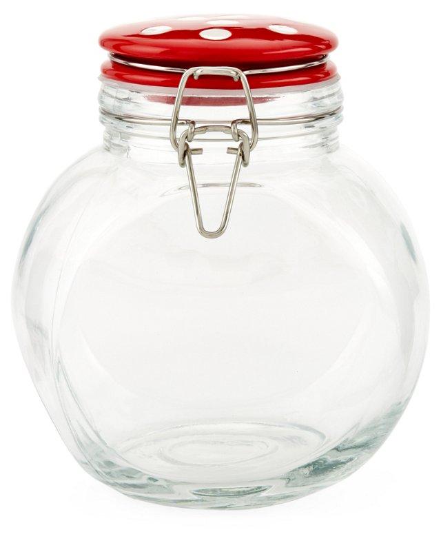 S/2 Festivo Jars w/ Red Lids