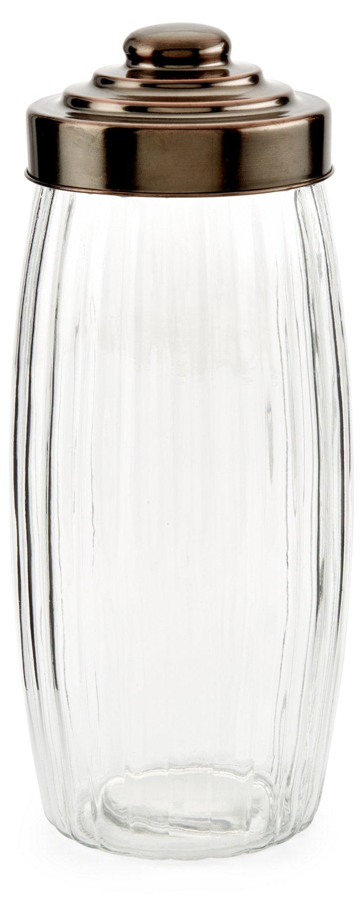 S/3 Copper Lid Jars, 88 Oz