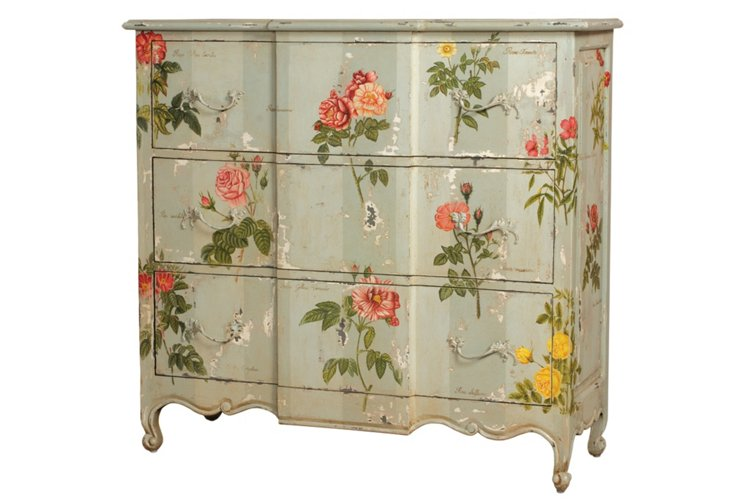Hand-Painted Rose 3-Drawer Chest