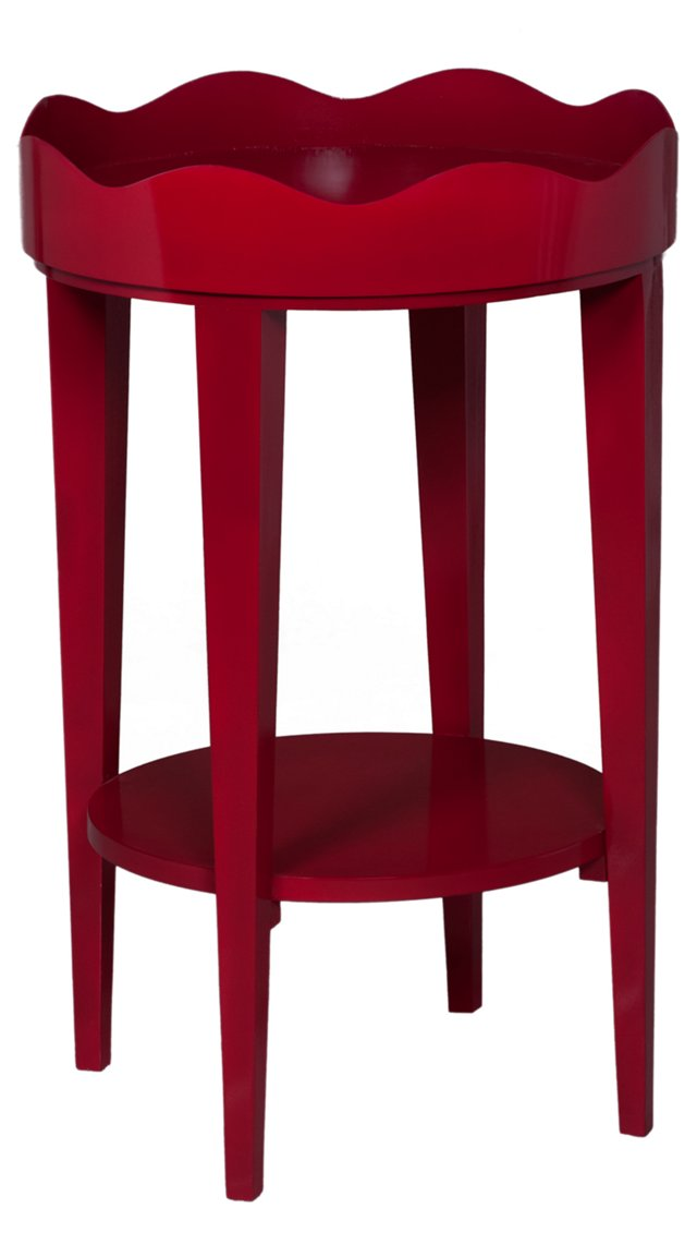 Round Table with Removable Tray, Red