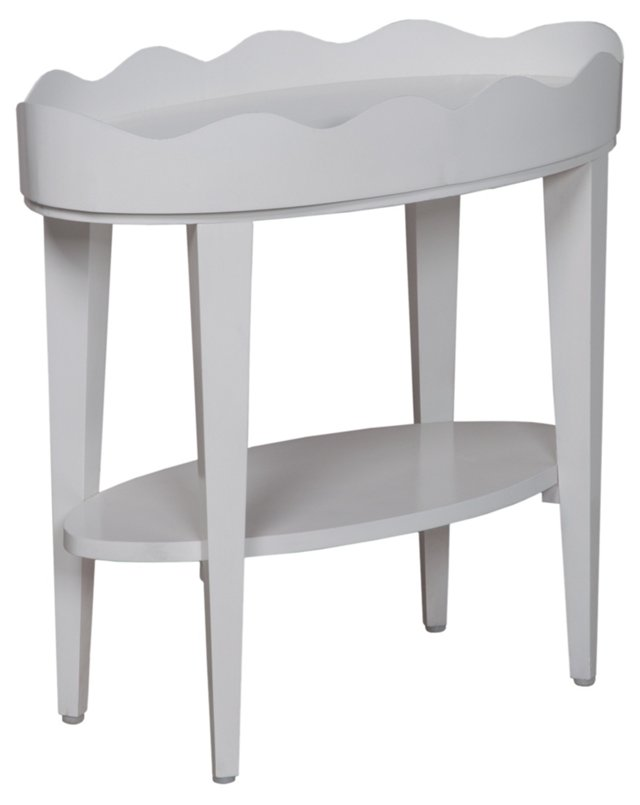 Oval Table w/ Removable Tray, White