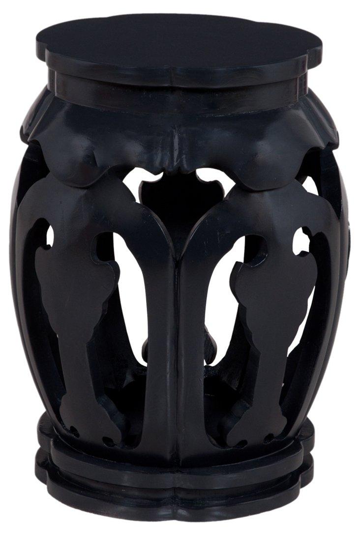 Eton Carved Stool, Black