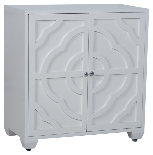 Alex Carved Cabinet, White