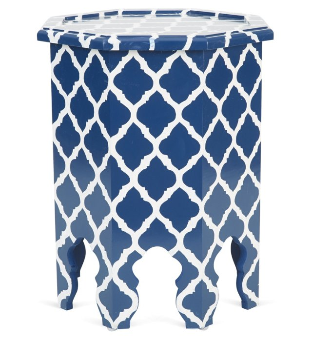 Bea Octagonal Table, Navy/White