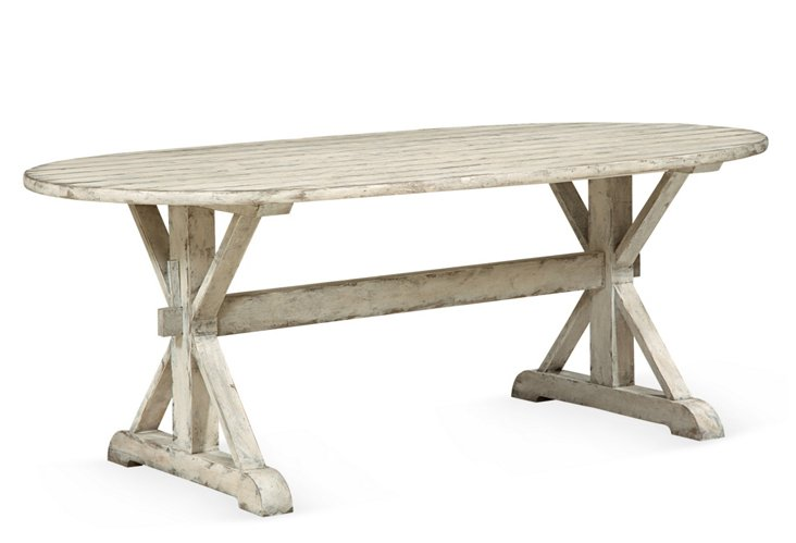 Outside In Dining Table, White/Driftwood