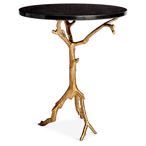 Laurel Side Table, Black/Gold