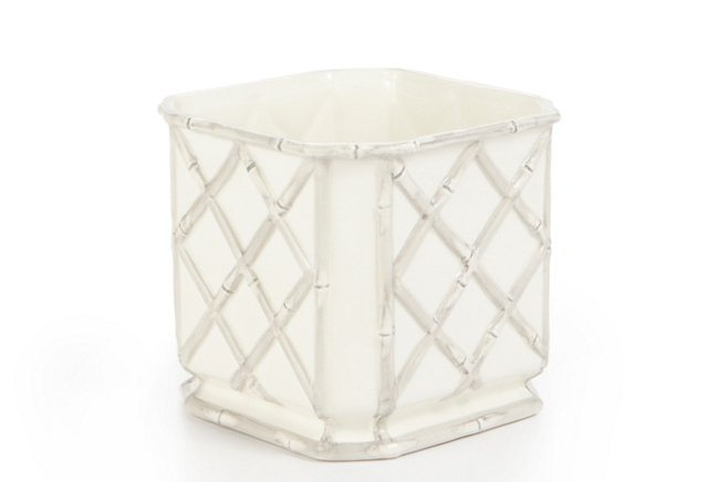 """6"""" Square Bamboo Cachepot, Gray"""