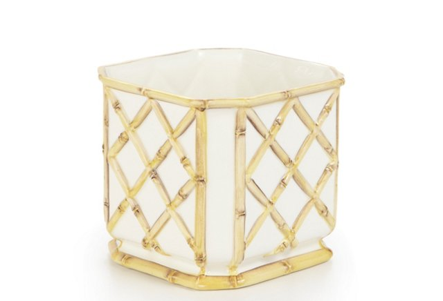 Small Square Bamboo Cachepot, Natural