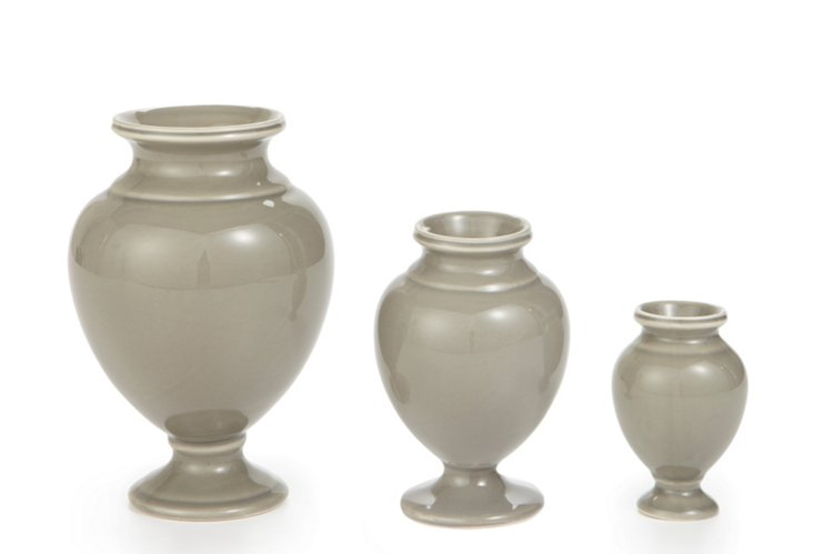 S/3 Pompeii Urns, Stone