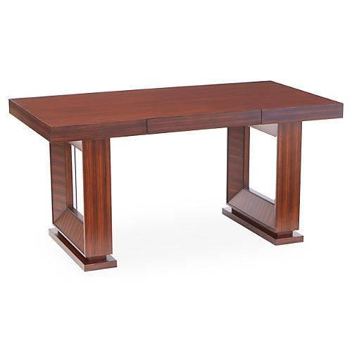 "Open Block 60"" Writing Desk, Zebra Wood"