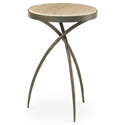 """18"""" Catesby Tripod Table, Marbled Gray"""