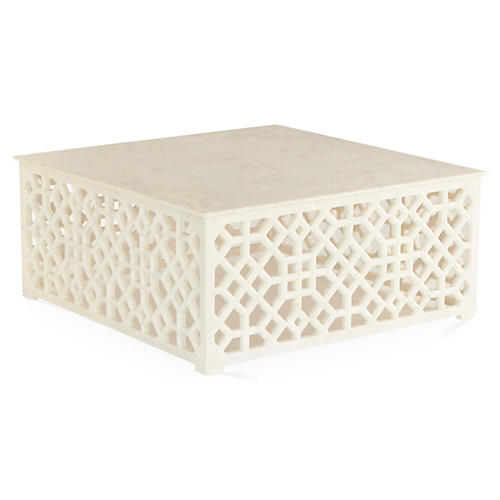 Marble Fret Coffee Table, Ivory