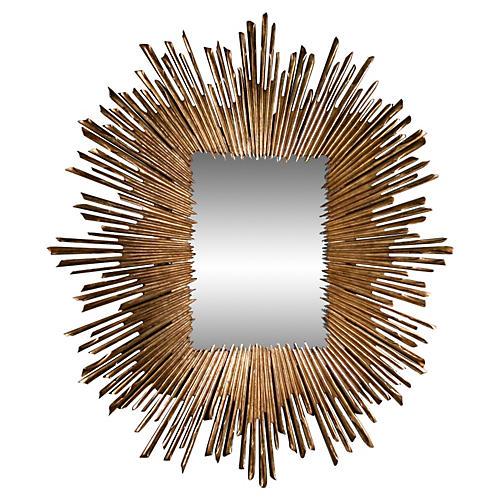 """Soleil 41""""x45"""" Oversize Mirror, Gold Leaf"""