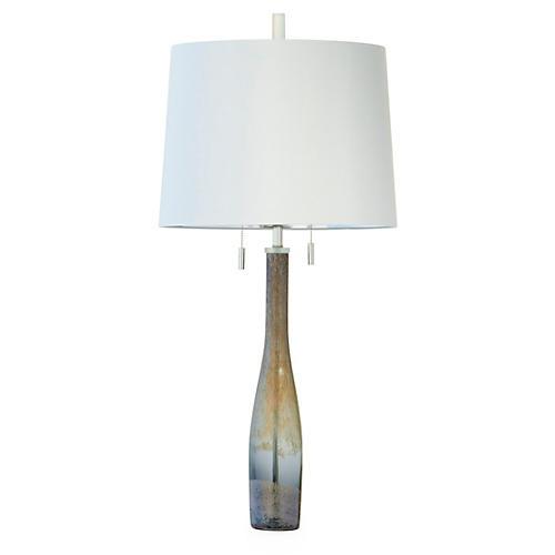 Metallic Gray Glass Table Lamp