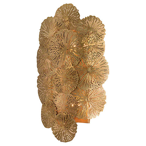 Lily Pad Wall Sconce, Antiqued Brass