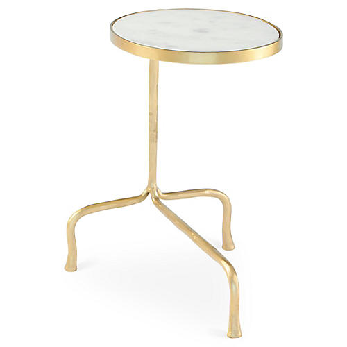 Cantilever Marble Side Table, White