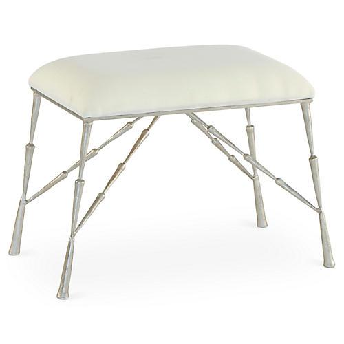 Spike Upholstered Bench, Antiqued Nickel
