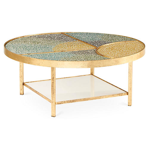 Tide Round Tile Coffee Table, Blue/Multi