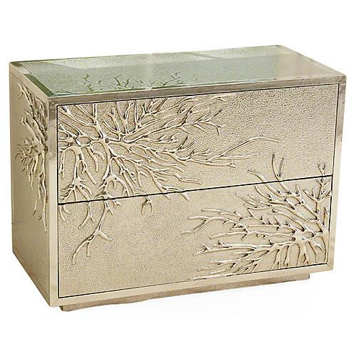 Flower Burst 2-Drawer Cabinet, SIlver