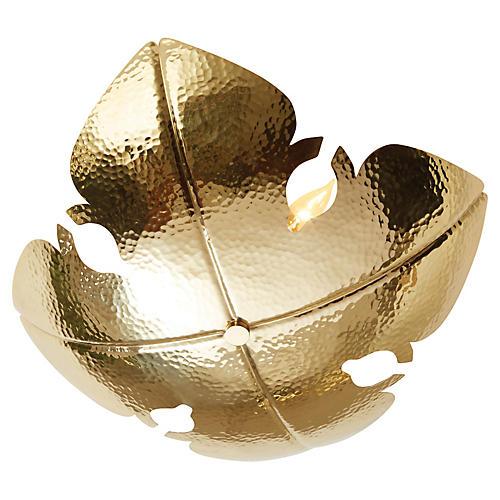 European Flush Mount, Shiny Brass