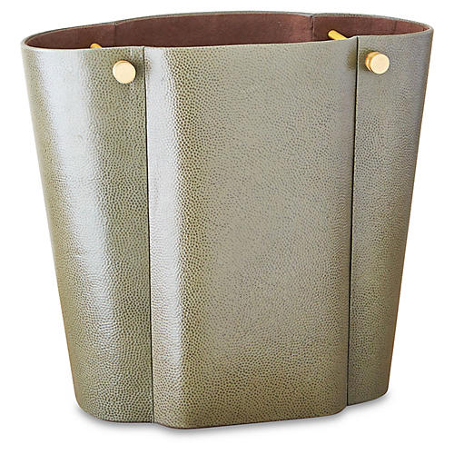 "14"" Serpentine Wastebasket, Olive/Walnut"