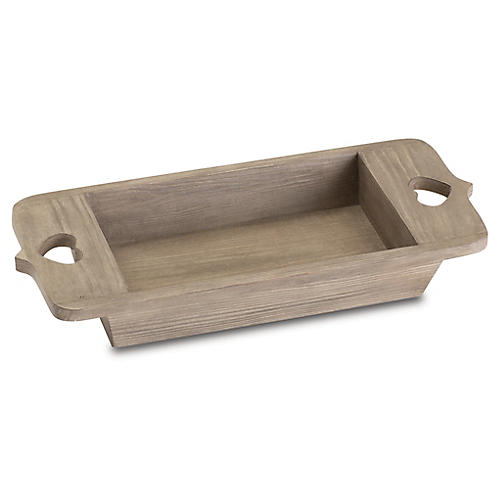 "17"" Heartfelt Tray, Gray/Brown"