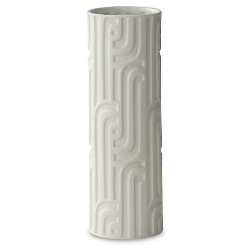 "12"" Decorative Lang Vase, White"