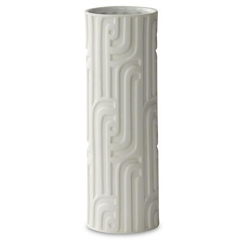 "12"" Decorative Lang Vase, White"