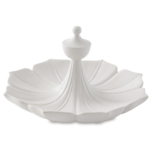"13"" Decorative Flora Bowl, White"