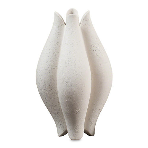 "14"" Pebble Vase, Pebble White"