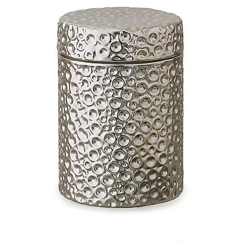 "5"" Moonscape Jar Candle, Silver"