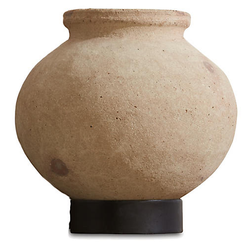 Desert Water Pot w/ Iron Base, Tan